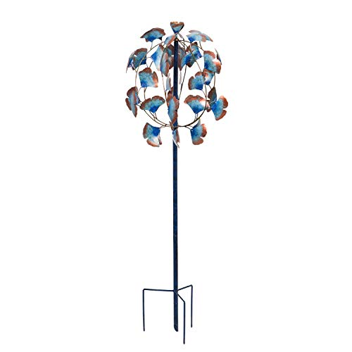 Evergreen Garden Beautiful Summer Multi Colored Gingko Leaves Wind Spinner - 19 X 19 X 51 Inches Fade And Weather Resistant Outdoor Decoration For Homes, Yards And Gardens