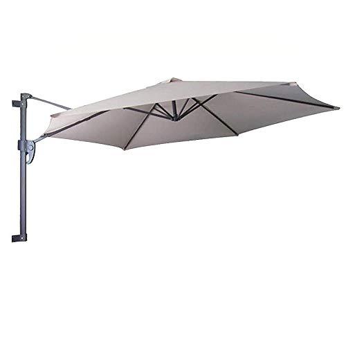 WWWRL Wand Gartenschirm Terrasse Regenschirme | 3.0 m | Einziehbar/Klappbar - mit Handkurbel, Balkon/Terrasse/Kaffetisch/Villa Grauer Sonnenschirm - ohne Sockel