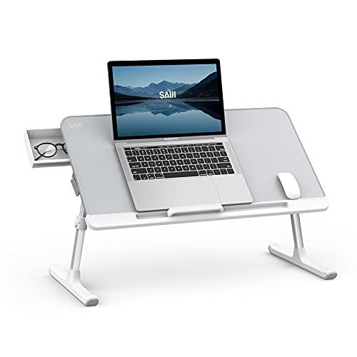 SAIJI Tavolino per Laptop Tavolino Pieghevole Regolabile per Laptop Scrivania Portatile Tavolino per Colazione con PVC Pelle con Cassetti Portaoggetti per Letto, divano, pavimento(grigio)