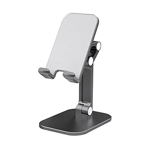 Tree-es-Life Diseño ergonómico portátil Metalurgia de Polvo de rotación Libre Antideslizante Soporte telescópico de Metal para teléfono móvil para teléfono de 4.7-13 Pulgadas Negro 90x125x252mm