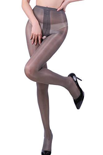 Women's High Waist Control Top Tights Sheer Shiny Pantyhose Silky Stockings (Gray)