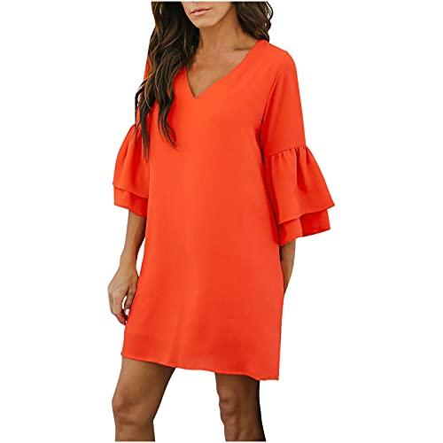 Vestido de verano para mujer, suelto, vestido de playa, vestido de baño, con mangas acampanadas, para la playa, poncho de playa, traje de baño, camisa, crema solar, vestido de camiseta. naranja M