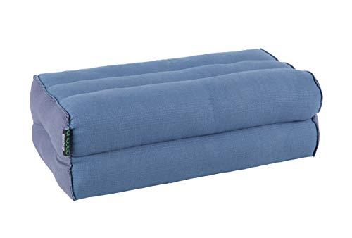 ANADEO YogaProducts Standard - Cojín de Yoga y Meditación Estándar Zafu - Kapok de Allta Densidad 100% Natural - Comodidad y Firmeza - Estabilidad del Asiento - Azul Niagara Gris - X1