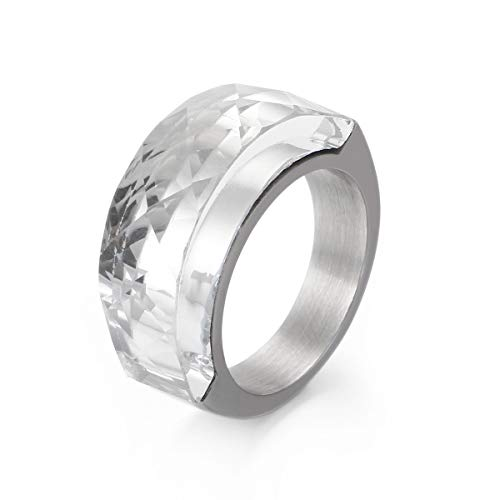 For Sale! Goldrui Natural Crystal Plain Rings Engagement Eternity Wedding Band Stainless Steel Silve...