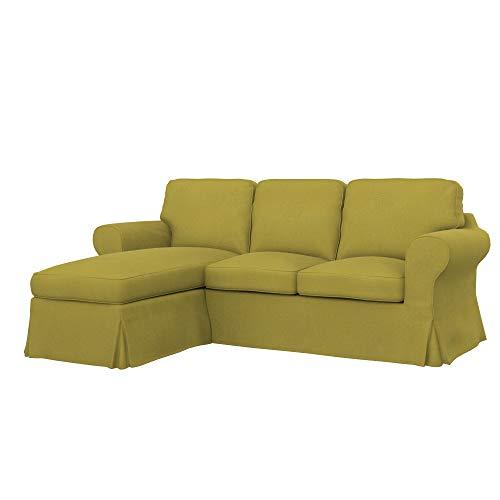 Soferia Fodera di Ricambio per Ikea EKTORP Divano a 2 posti con Chaise-Longue, Tela Softi Dark Yellow, Giallo