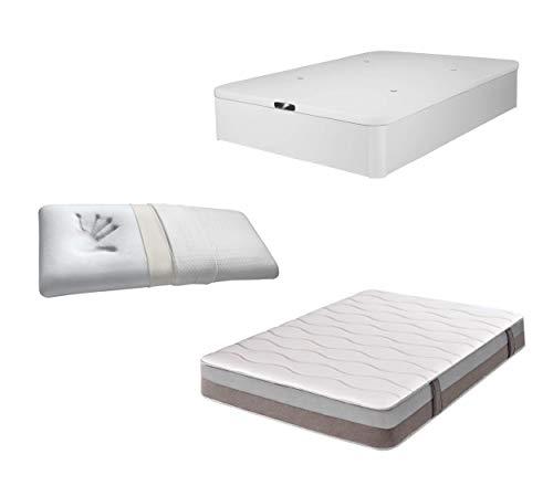 DHOME Pack Colchón viscografeno, Reversible + Canape abatible tapizado 3D Blanco Madera Conjunto (150x190, Colchón 23cm +...
