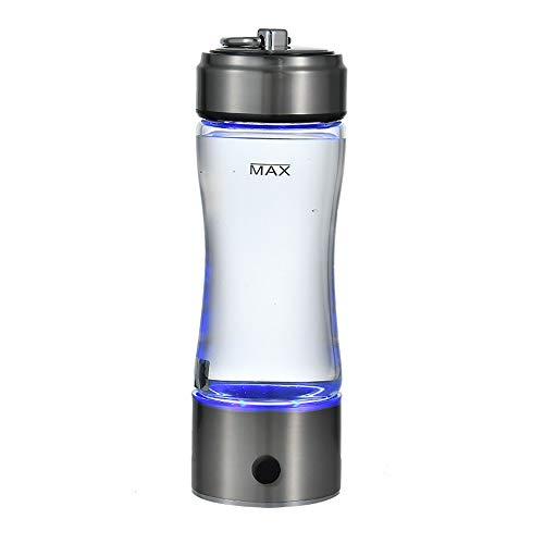 AUNLPB 420ML tragbarer Wasserstoff-Wassergenerator mit Doppelglasflasche, tragbarer Wasserstoff-Wasser-Ionisator-Flaschenhersteller Generator, Glas-Wasserkrug