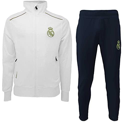 PRENDAS DEPORTIVAS ROGER'S, S.L. Chándal Real Madrid oficial deportivo chaqueta + pantalón Blancos chaqueta + pantalones originales (talla, L)