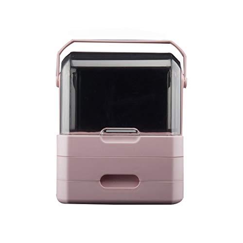 Nvshiyk Maquillage des boîtes de Rangement Boîte de Rangement cosmétique de Bureau à la poussière Domestique pour Meuble-lavabo et comptoir (Couleur : Rose, Size : 31.5x21x36.5cm)
