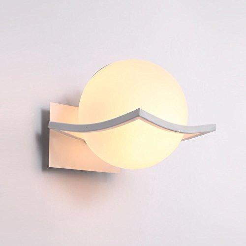 ZCZZ Apliques de Pared Lámpara de Pared LED con Esfera de Vidrio, Lámpara de Pared de Hierro Forjado con Bola de Vidrio para el hogar, para Interiores, Metal, Soporte de Acero Inoxidable, Sala