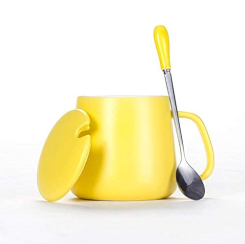 Taza De Cerámica Amarilla del Hogar. Con tapa y cuchara.