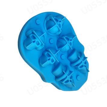 Totenkopf Eiswürfelform aus Silikon, 3D Schädel Ice Cube Formen, 6 Loch Totenkopf Deko Ice Cube Maker Eiswürfelform Eiskugelform für Whiskey EIS und Cocktails Saft Getränke (Blau)