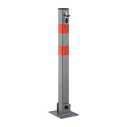 Relaxdays 10020092_483 Absperrpfosten quadratisch Poller zur Sperre von Parkplatz, Einfahrt oder Durchfahrt klappbarer Pfeiler mit 3 Schlüsseln Pfosten aus Stahl mit roten Warnstreifen
