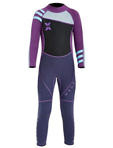 Echinodon Mädchen Neoprenanzug UPF 50+ 2.5MM Neopren Schwimmanzug Langarm UV Schutz Badeanzug für Baby Kinder Violett XL
