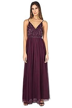 JUMP Women's Spaghetti Strap Scalloped Sweetheart Neck Beaded Bodice Long Shirred Mesh Skirt Gown Burgundy 15