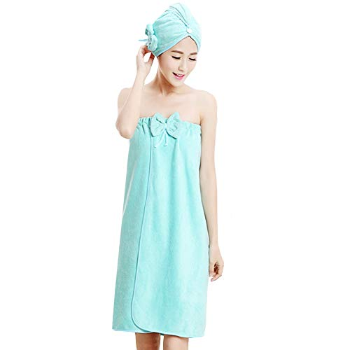 mega Women Microfiber Bowknot Bath Towel Wrap Hair Tube Set Strapless Cover Up Bathing Bathrobe with Elastic Light Green