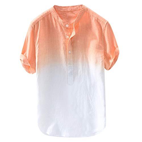 Xmiral Camicie Maniche Lunghe e Taglie Sport Estate Colletto Fresco e Sottile Traspirante Tinta Tinta Unita Camicia da Uomo (5XL,Arancia)