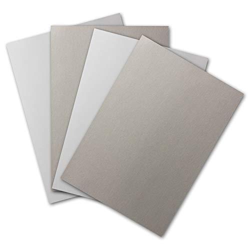 10x Plano-Bogen DIN A4, Bastel-Karton, 2-seitig Weiß-Glatt & Grau-Rauh - 400 g/m² - 210 x 297 mm - stabile Schachtel-Pappe