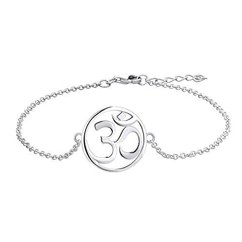 O WISDOM Damen Armband Yoga Aum Om Ohm Zeichen Silber 925 Amulett Fußkettchen (Farbe Weißgold)