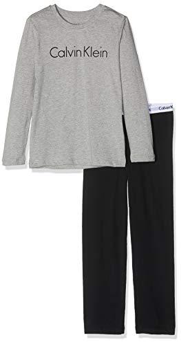 Calvin Klein Jungen Ls Knit Pj Set Zweiteiliger Schlafanzug, Grau (Grey Heather W/Black 044), One Size (Herstellergröße: 12-14)