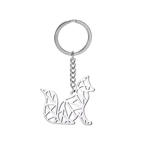 cooltime Llavero de acero inoxidable geométrico ahueca hacia fuera el llavero animal para el amante de los animales unisex (Fox)
