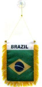 AZ FLAG Brazil Mini Banner 6'' x 4'' - Brazilian Pennant 15 x 10 cm - Mini Banners 4x6 inch Suction Cup Hanger