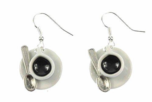 Miniblings Tassen Kaffeetassen Cafe Ohrringe - Handmade Modeschmuck I mit Löffel Porzellan - Ohrhänger Ohrschmuck versilbert