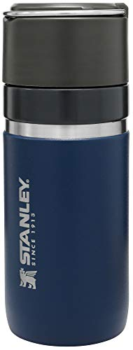 Stanley GO Bottle mit Spritzschutz Edelstahl-Thermosflasche mit CERAMIVAC,   Auslaufsicher   BPA-frei   Spülmaschinenfest   Lifetime Warranty, Navy, 0.47 L