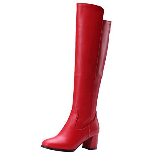 Lydee Damen Mode Kniestiefel Blockabsatz Dress Stiefel Reißverschluss Hohe Stiefel Party Heels Red Gr 42