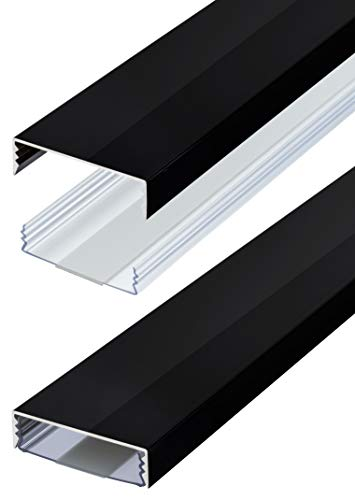 Flacher Design Aluminium Kabelkanal lackiert in Schwarz Hochglanz selbstklebend 50 mm x 15 mm Alunovo Kabelschacht Leitungskanal Installationskanal (Länge: 40cm)