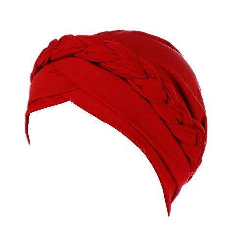 Fxhixiy Hijab Braid Silky Turban Hats for Women Cancer Chemo Beanies Cap Headwrap Headwear, Red, Free Size