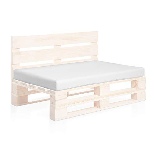 SUENOSZZZ-ESPECIALISTAS DEL DESCANSO Colchoneta Asiento para Sofas de palets, cojin Chill out Relleno con Espuma y enfundado en Polipiel Color Blanco