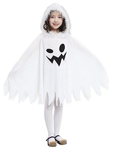 GIFT TOWER Déguisement Fantôme Blanc Cape à Capuche Enfant Fille/Garçon Halloween Costume Cosplay Carnaval 3-4ans