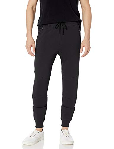 Brooklyn Athletics Men's Fleece Jogger Pants Active Zipper Pocket Sweatpants, Solid Black, Large
