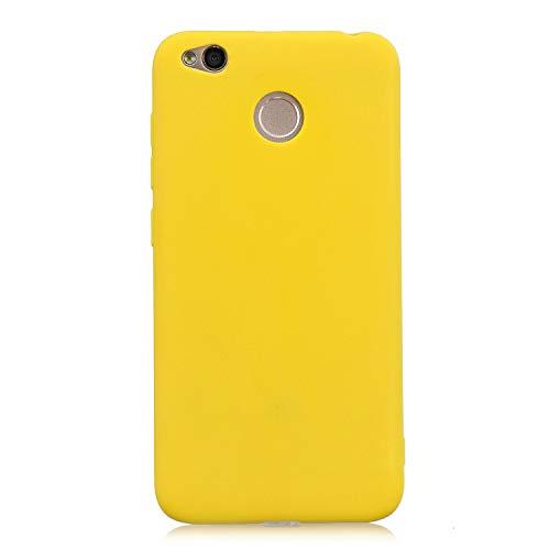 cuzz Funda para Xiaomi Redmi 4X+{Protector de Pantalla de Vidrio Templado} Carcasa Silicona Suave Gel Rasguño y Resistente Teléfono Móvil Cover-Amarillo