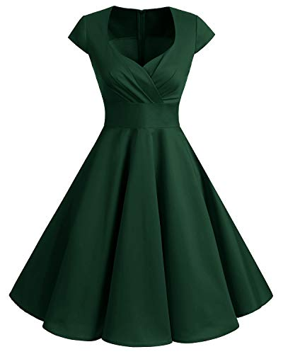 Bbonlinedress 1950er Vintage Retro Cocktailkleid Rockabilly V-Ausschnitt Faltenrock Dark Green M