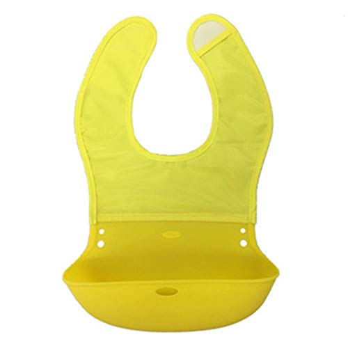 NA. Nangjiang Baberos impermeables de silicona suave para bebé, color sólido, toalla de saliva, ajustable, bolsillo para recoger alimentos