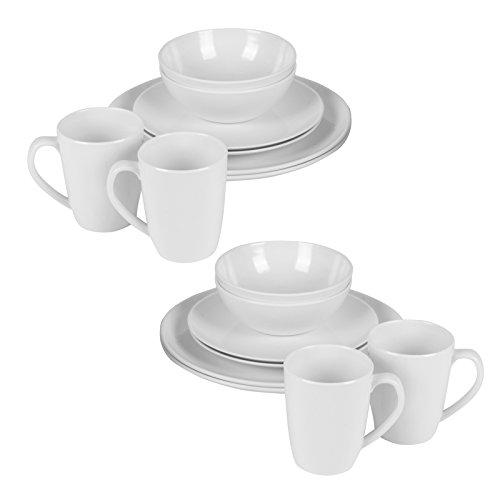16-delige melamine servies set voor camping wit ronde vormen tijdloos eenvoudig