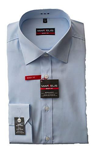 Marvelis Hemd, Body Fit mit extra Langen Arm 69cm, Hellblau, Schwarz, Weiß, Bügelleicht, New York Kent (44, Hellblau)