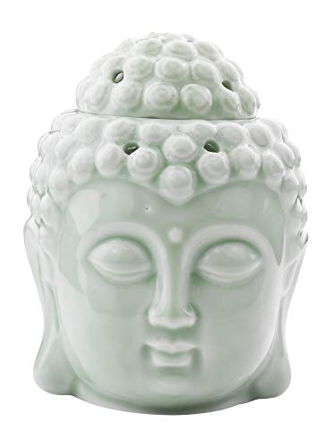 Mudra Crafts Oil Burner, Candle Warmer, Pistachio Green Buddha Statue Decor for Scented Wax, Fragrance Melt, Essential Oil