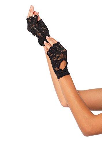 Leg Avenue Women's Keyhole Lace Fingerless Gloves, Black, One Size