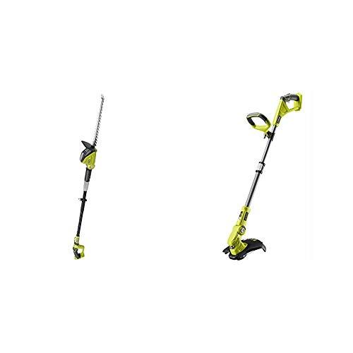 Ryobi ONE+ 18V OPT1845 Cordless Pole Hedge Trimmer, 45cm Blade (Body Only) & OLT1832 18V ONE+ Cordless Grass Trimmer, 25-30cm Path (Zero Tool), 18 V, Hyper Green