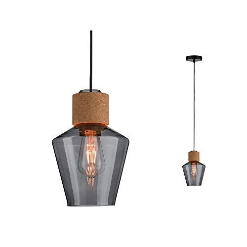 Paulmann 79740 Neordic Edla Pendelleuchte max. 1x20W Hängelampe für E27 Lampen Deckenlampe Rauchglas/Kork/Schwarz 230V ohne Leuchtmittel, Glas