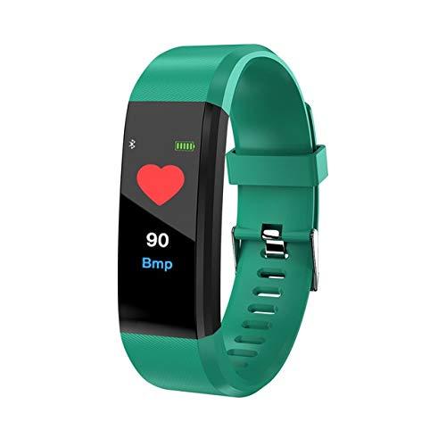 OYPY Männer und Frauen Smart-Armband-Uhr-Frauen-Smart-Armband Fitness-Sport-Uhr-Band-Überwachung (Farbe : 115 Plus Green)