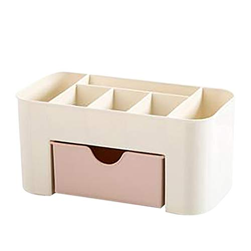 Plastic Cosmetic Organizer, Makeup Countertop Display Case Desktop Box with Small Drawer Multifunctional Desk Make up Tray for Vanity Counter Nightstand Brushes, Lipsticks, Palettes (Pink)