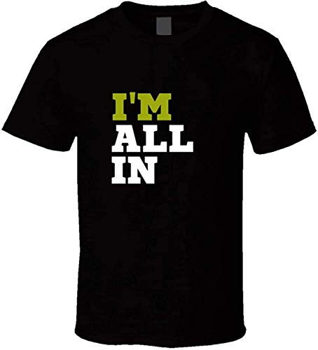 Men's I'm All in t-Shirt Lucky Hold'em Poker Shirts WPT Wear it and Win! Casual T Shirts,Black,3XL