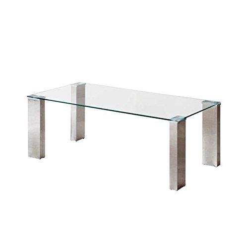 Homely - Mesa de Centro Karina con Tapa de Cristal Templado y Patas de Acero