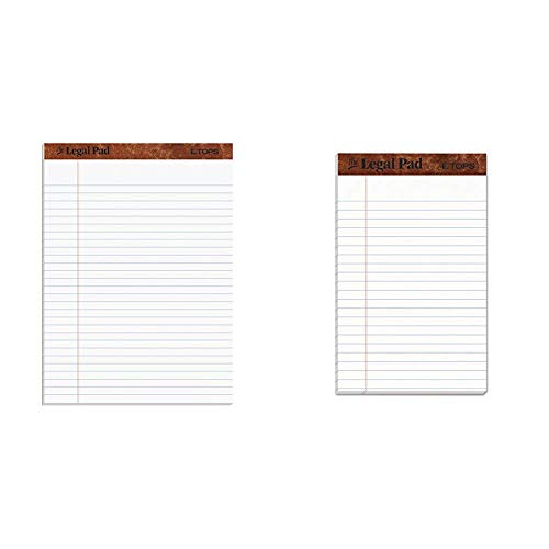 """TOPS The Legal Pad Writing Pads, 8-1/2"""" x 11-3/4"""", Legal Rule, 50 Sheets, 12 Pack (7533) & The Legal Pad Writing Pads, 5"""" x 8"""", Jr. Legal Rule, 50 Sheets, 12 Pack (7500)"""