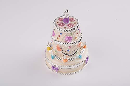 Keren Kopal White Wedding Cake Trinket Box Decorated with Swarovski Crystals Unique Handmade Gift CK1919