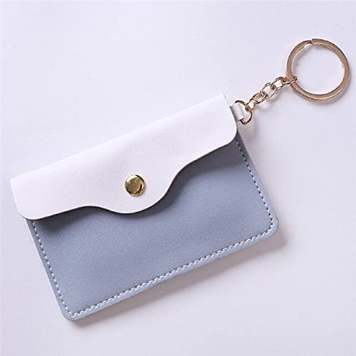 FlorenceS 4Colors Women Girl Stylish Leather ID Card Holder Card Bags Badge Key Ring Keychain Wallet - Blue